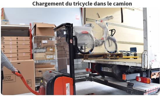 Chargement du tricycle dans le camion