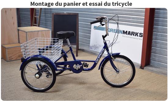 Essai du tricycle adulte avant préparation de l'emballage