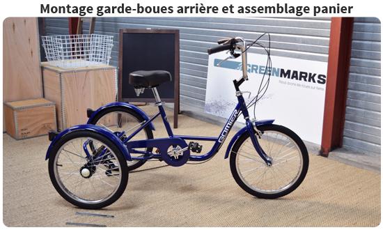 Montage des garde-boues et assemblage panier tricycle adulte