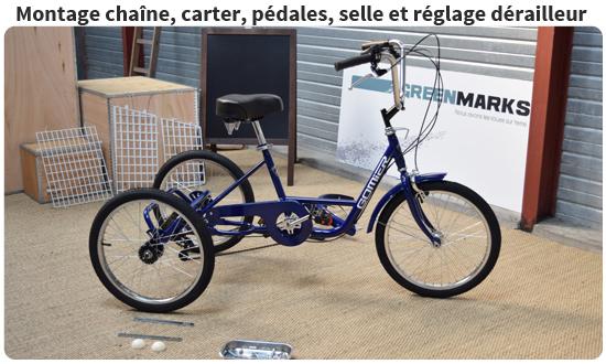 Montage carter de chaîne, réglage dérailleur et montage de la chaine sur un tricycle adulte