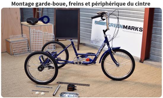 Montage des pédales, freins et périphérique du cintre sur un tricycle adulte